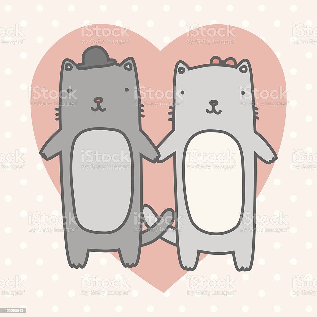 Two cute cats in love royalty-free stock vector art