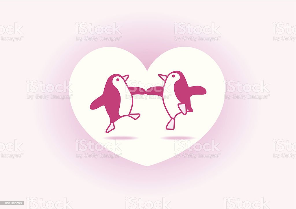 Two Dancing Pink Penguins in Love Heart royalty-free stock vector art
