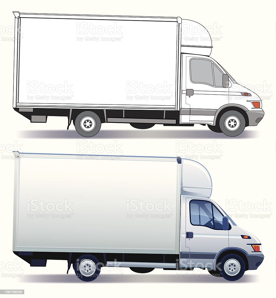 Two delivery truck designs in white and grey colors vector art illustration