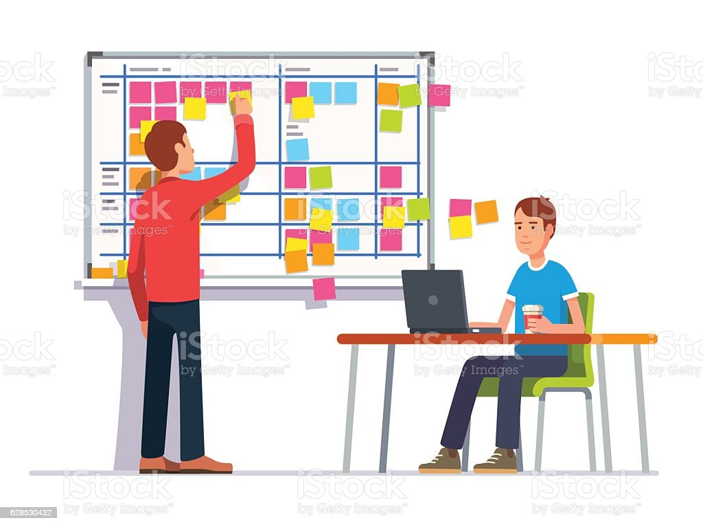 Two developers planning their work vector art illustration