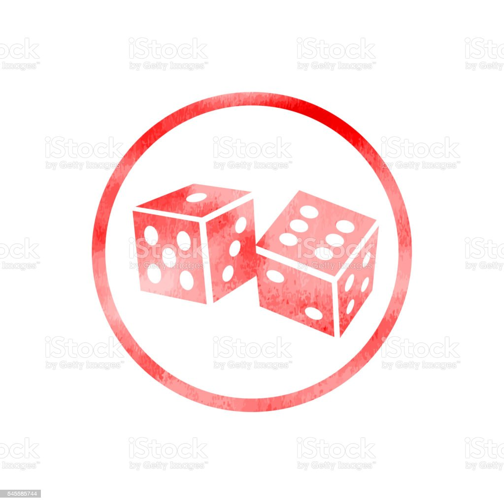Two Dice Cubes Icon with Watercolor Texture vector art illustration