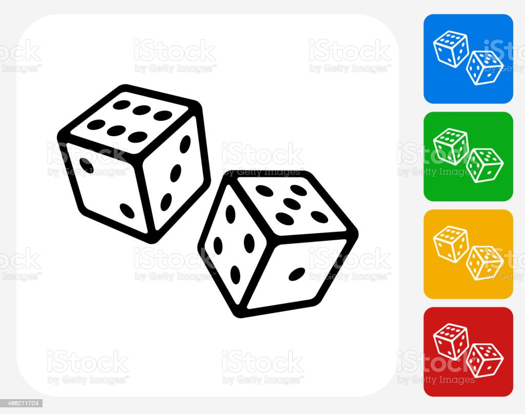 Two Dice Icon Flat Graphic Design vector art illustration