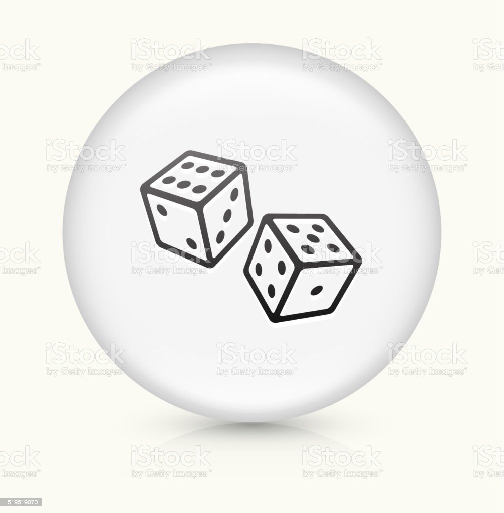 Two Dice icon on white round vector button vector art illustration