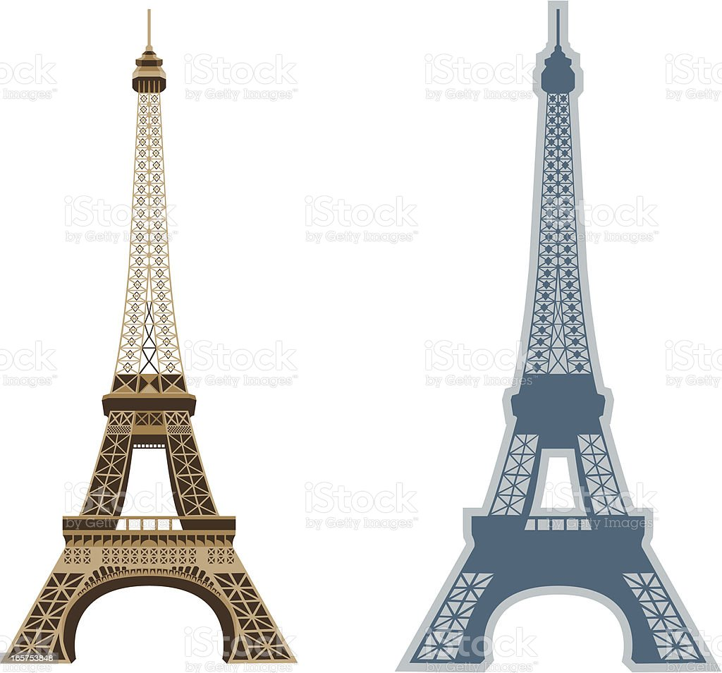 Two different illustrations of Eiffel Tower in Paris royalty-free stock vector art