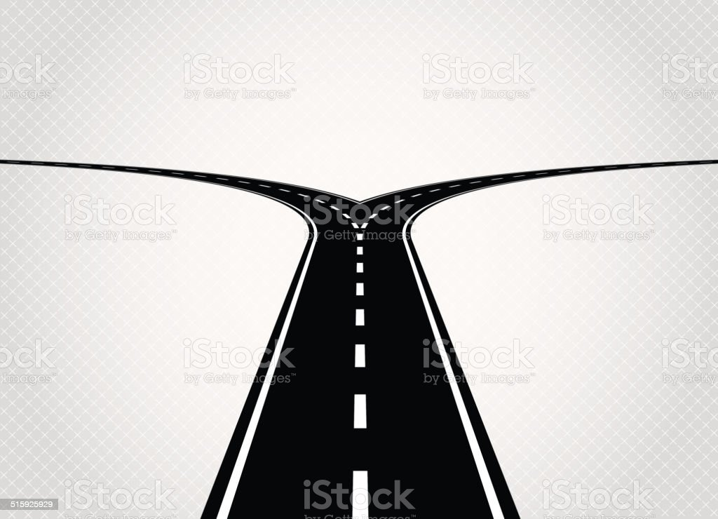 Two directions road vector art illustration