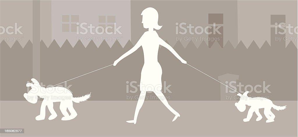Two Dog Walkies royalty-free stock vector art