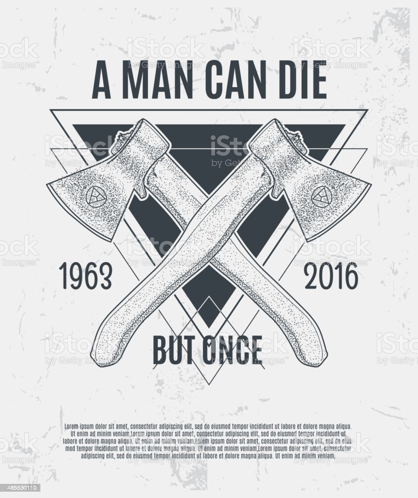 Two dotwork axes with modern street style attributes vector art illustration