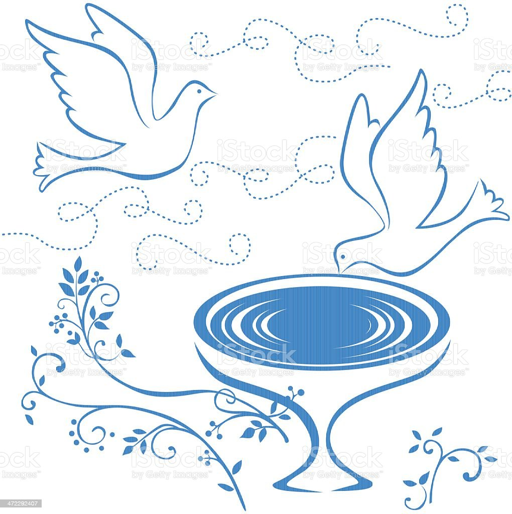 two doves and fountain royalty-free stock vector art