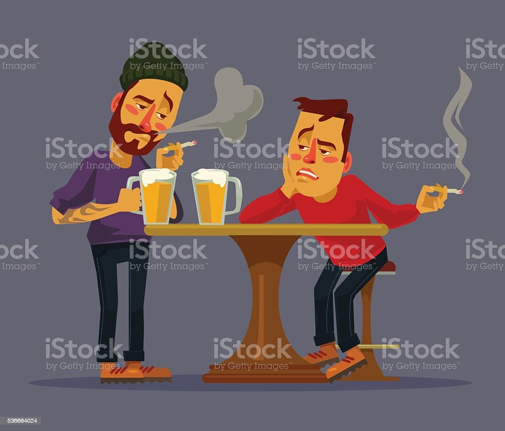 Two drunk friends discus problems vector art illustration