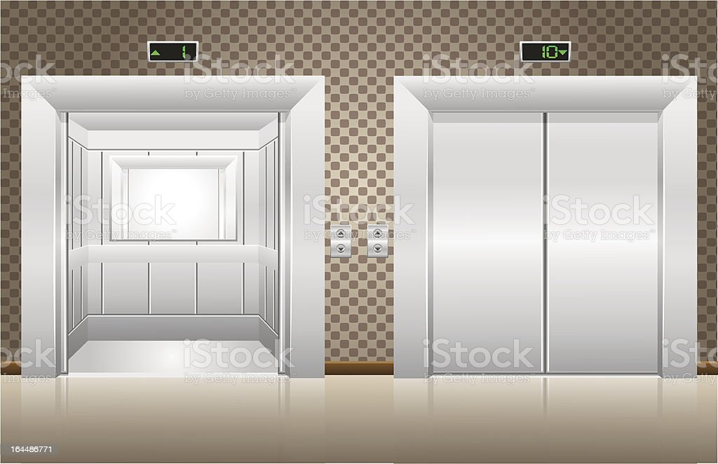 two elevator doors open and closed royalty-free stock vector art