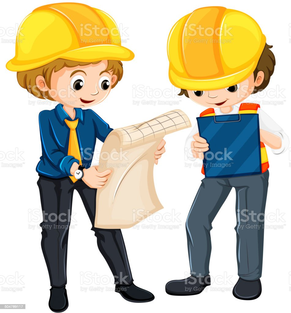 Two engineers planning royalty-free stock vector art