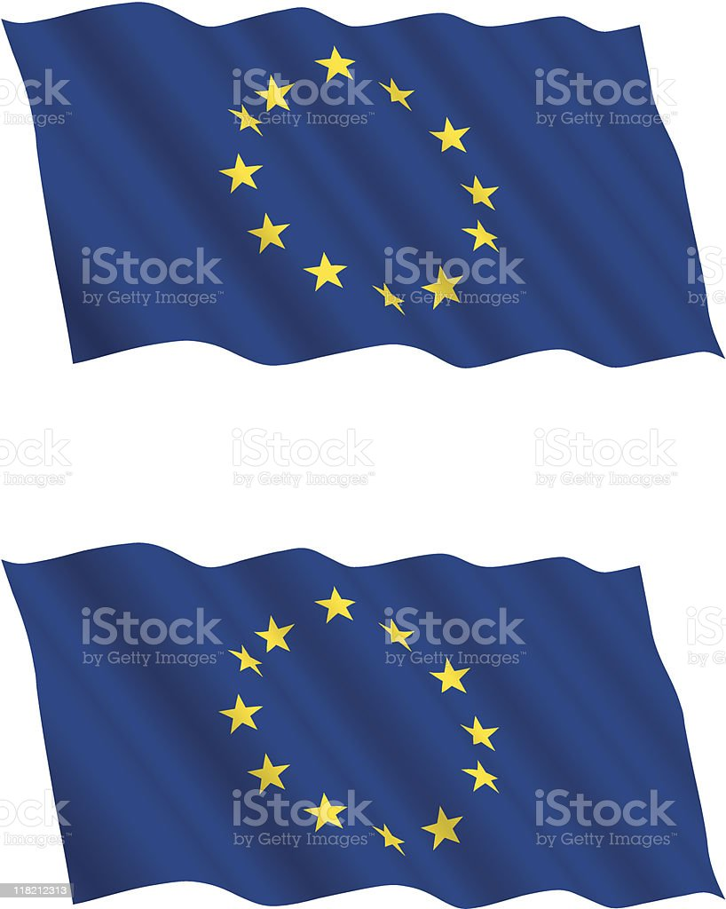 Two European Union flags against a white background vector art illustration
