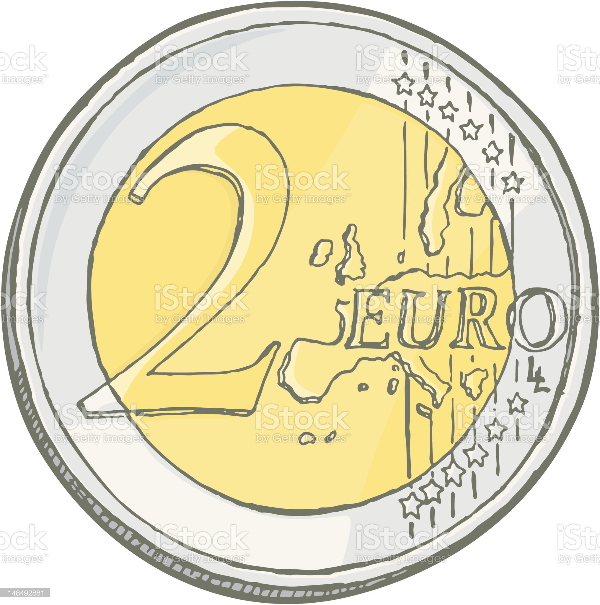 Two euros coin sketch royalty-free stock vector art