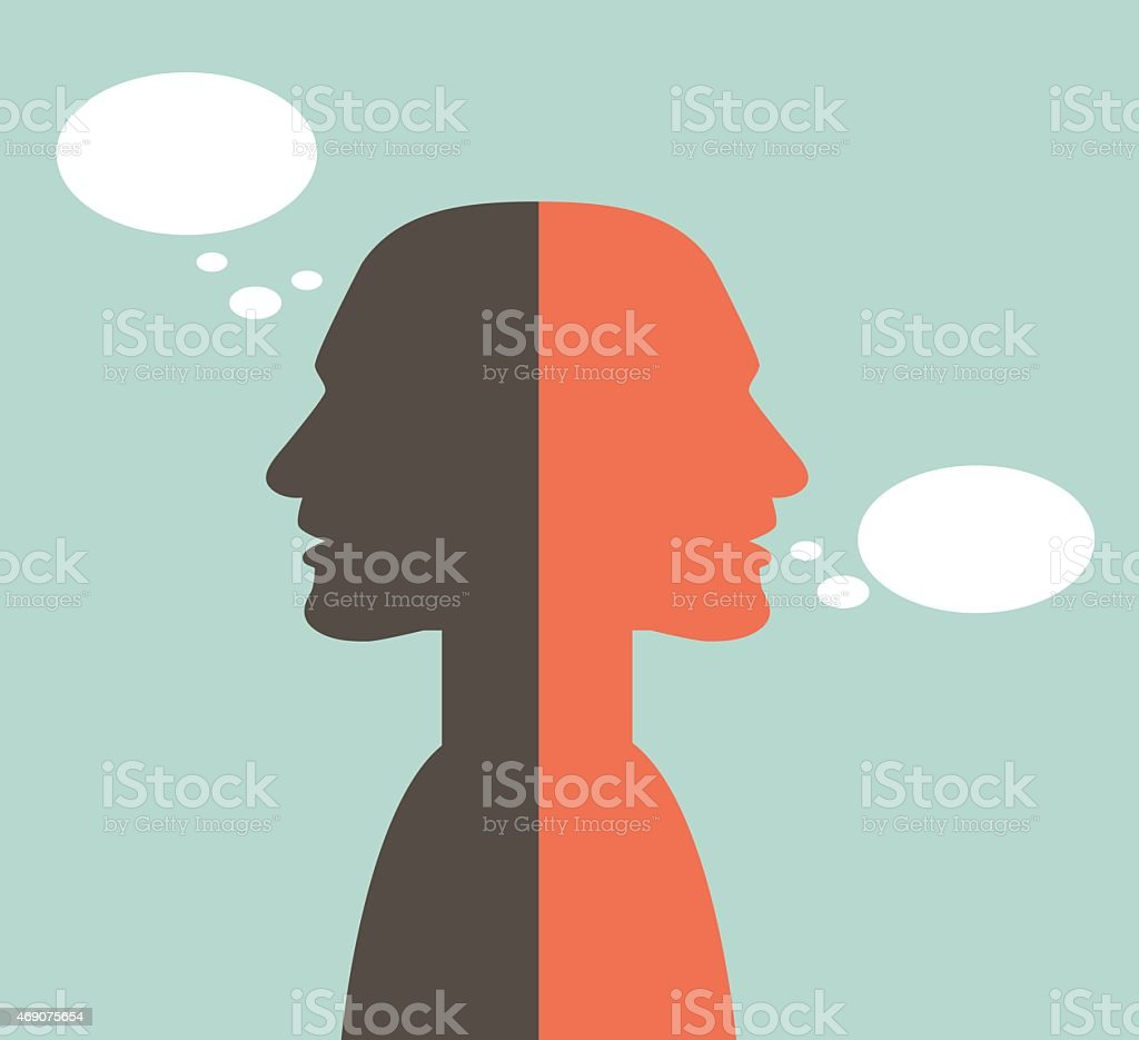 Two faced head. Talk and think concept. vector art illustration