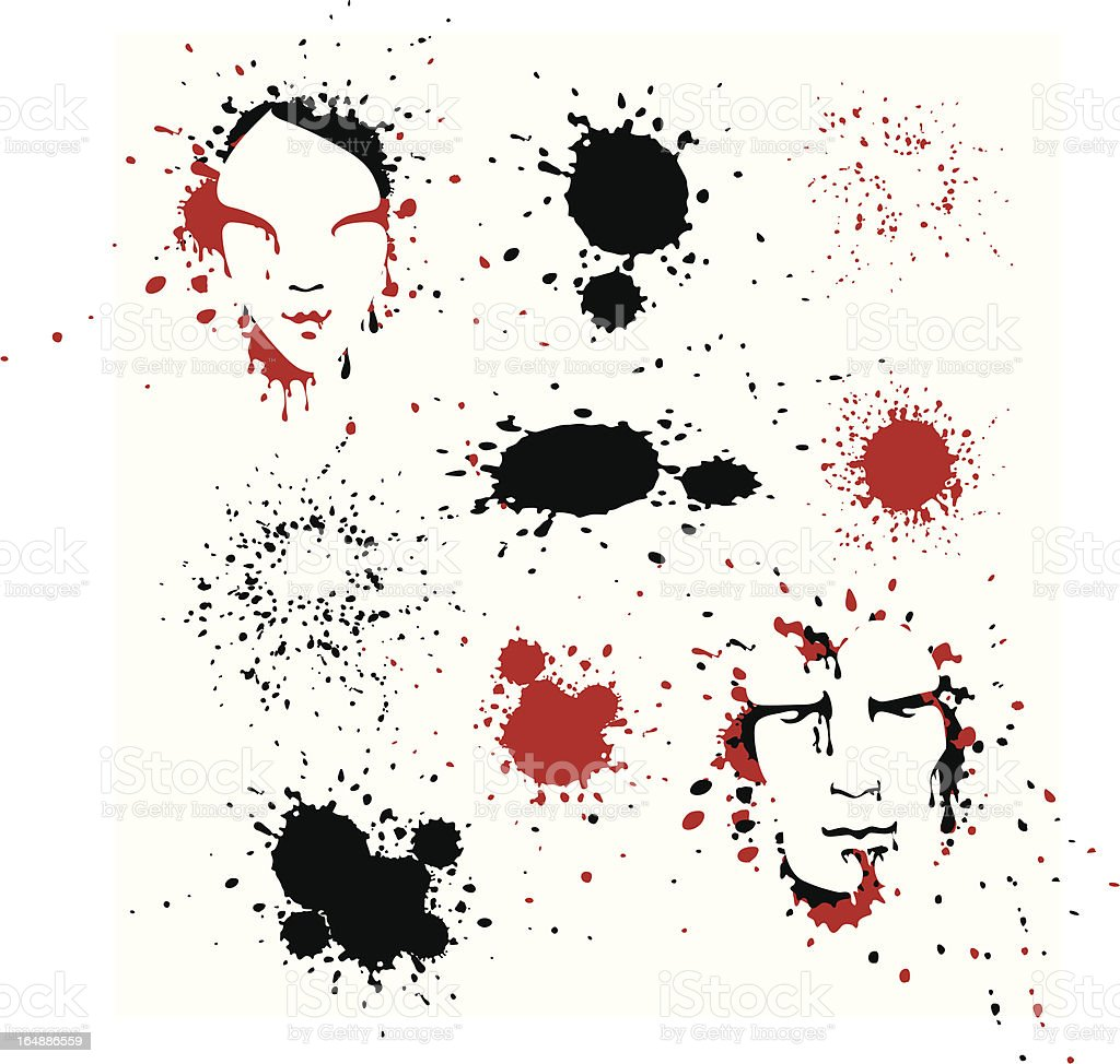 two faces and spots royalty-free stock vector art