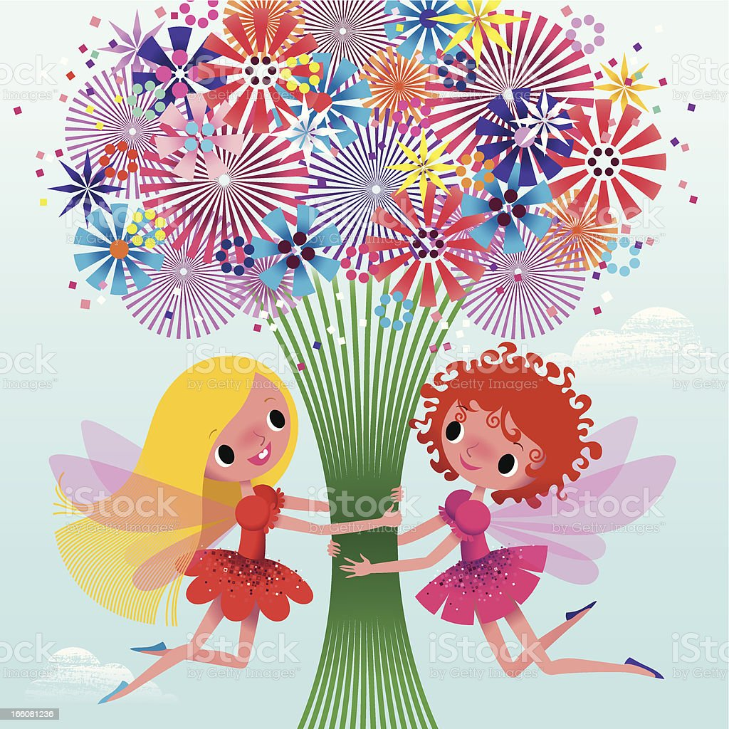 Two Fairies Holding a Bouquet. royalty-free stock vector art