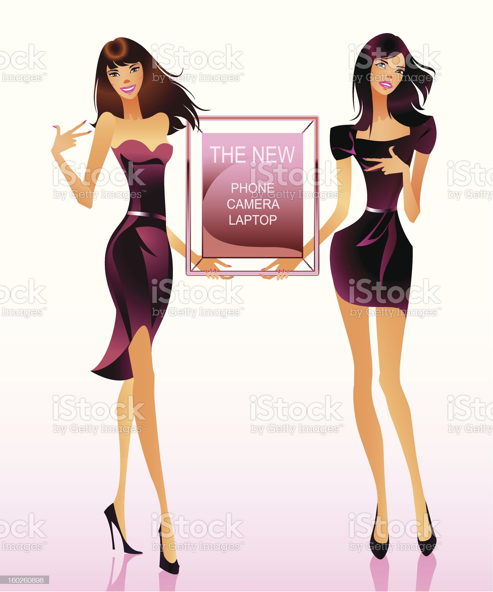 Two Fashion models with advertising message royalty-free stock vector art