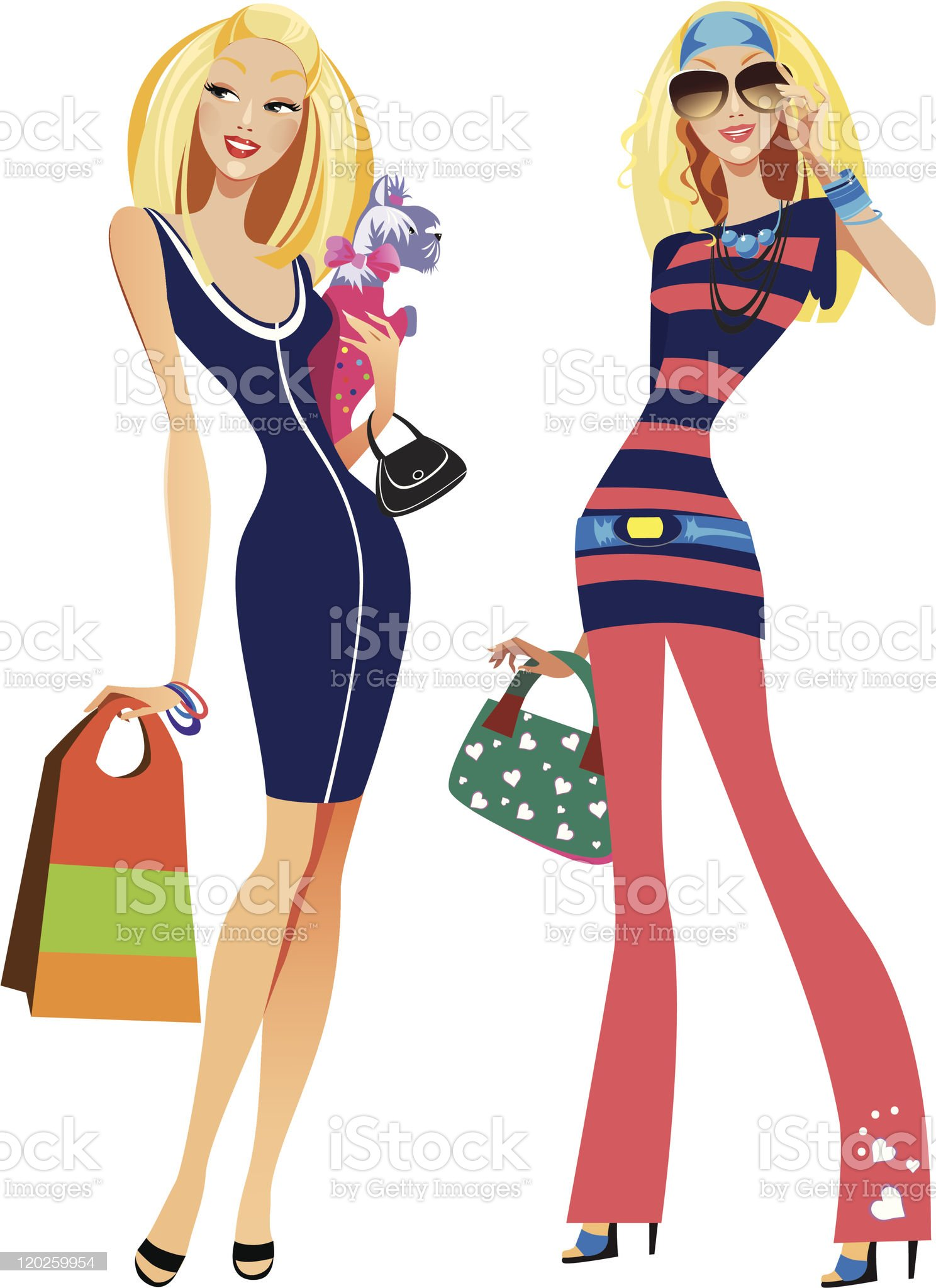 two fashion women royalty-free stock vector art
