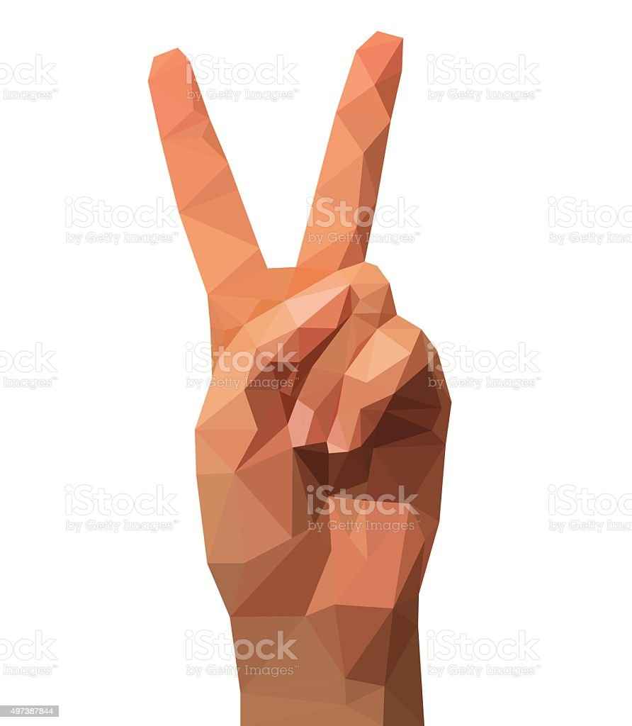 two fingers of a hand polygonal low poly winning Victory vector art illustration