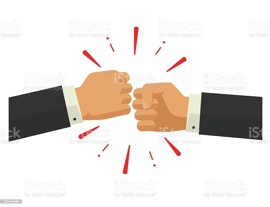Two fists together vector, hands in air bumping, punching, fighting vector art illustration