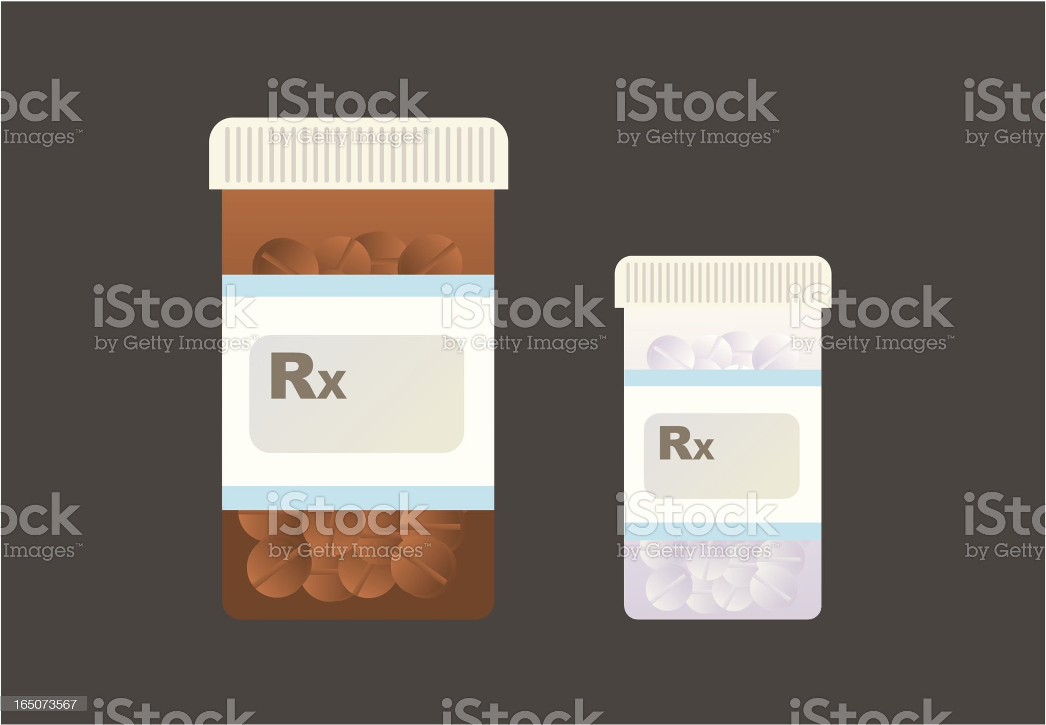Two flat vector medicine bottles royalty-free stock vector art