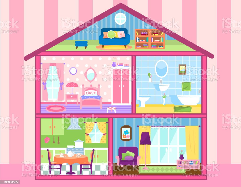 Two floors storey Dolhouse with cute attic vector art illustration
