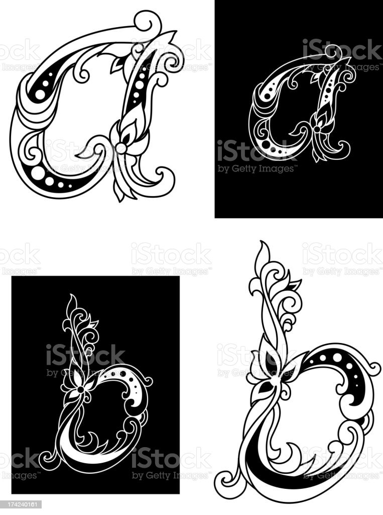 Two floral letters A and B royalty-free stock vector art
