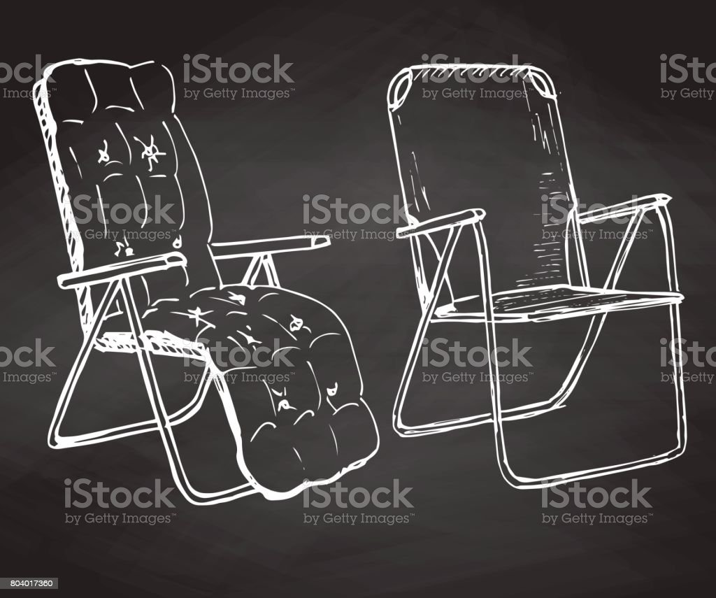 Two folding chairs hand drawn chalk on a chalkboard. Vector illustration in a sketch style vector art illustration
