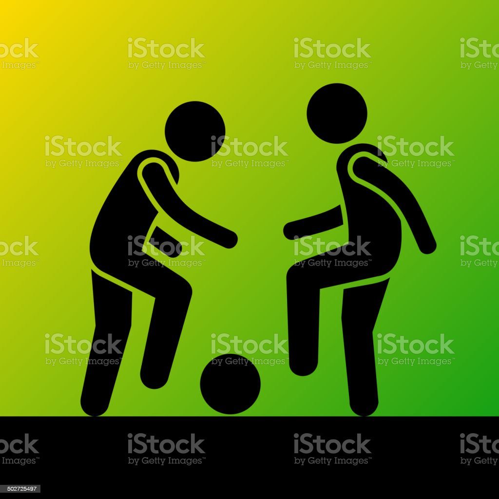 Two Football Players with Ball. Vector Icon royalty-free stock vector art