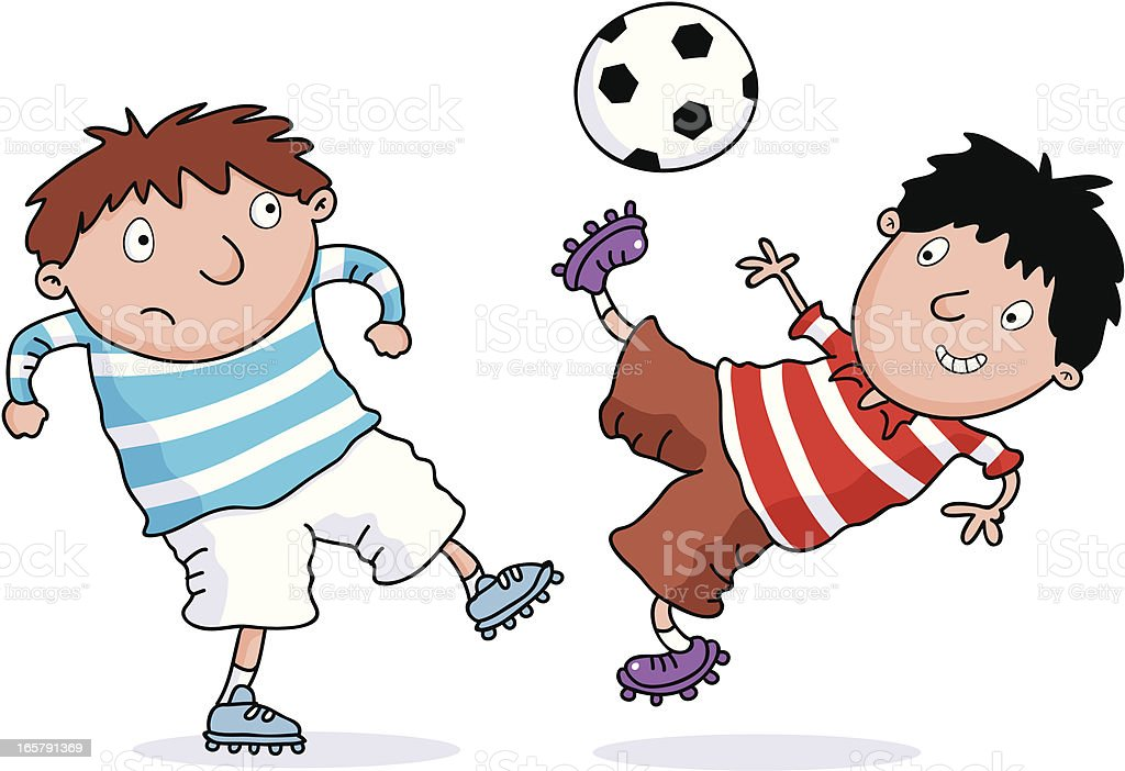 Two Footy Kids royalty-free stock vector art