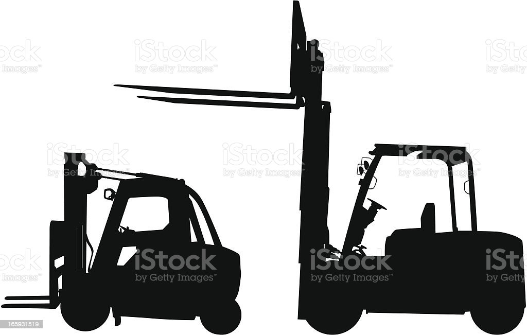Two forklift icons in black with white background vector art illustration