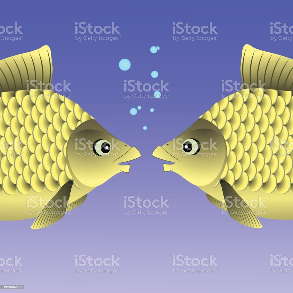 Freshwater fish art - Two Freshwater Fishes Royalty Free Stock Vector Art