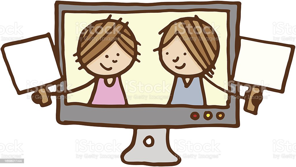 Two friends holding blank signs inside a television royalty-free stock vector art