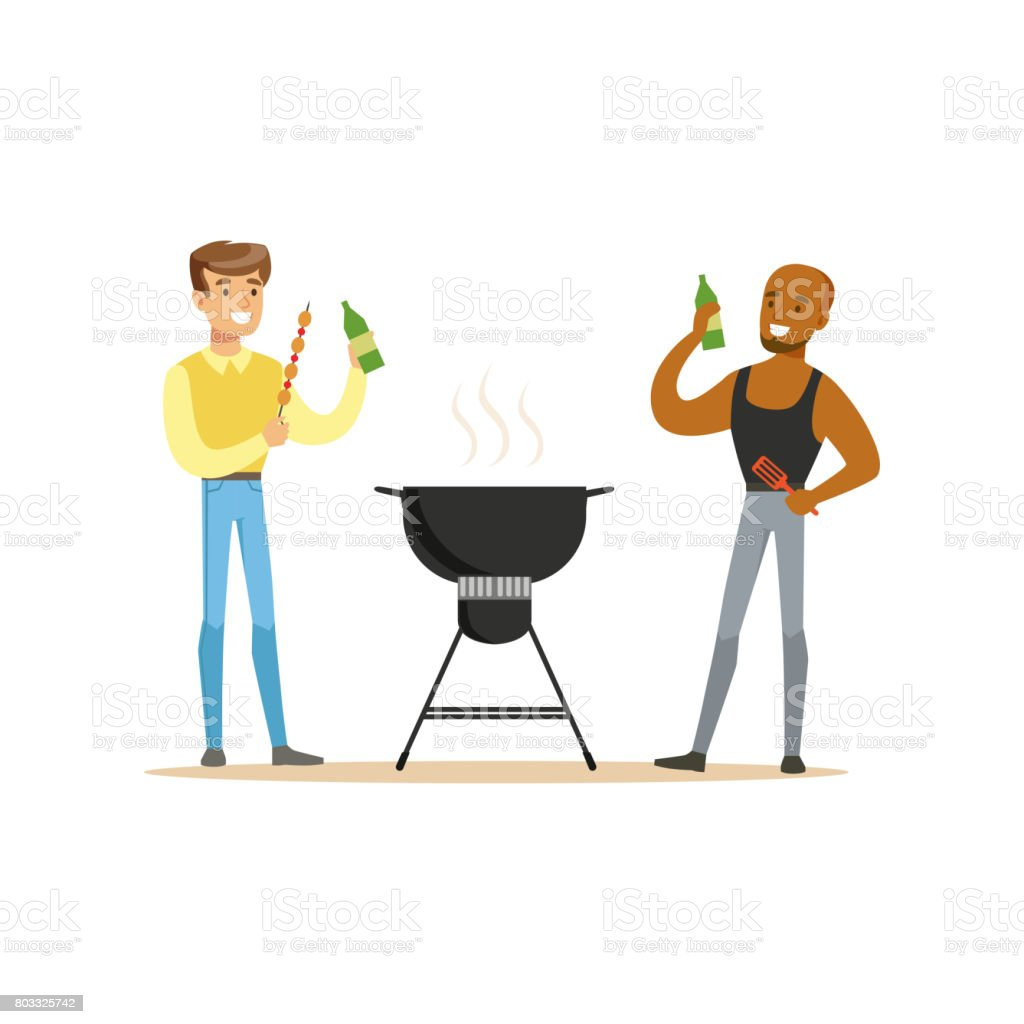 Two friends preparing barbecue on a grill and drinking beer vector Illustration vector art illustration