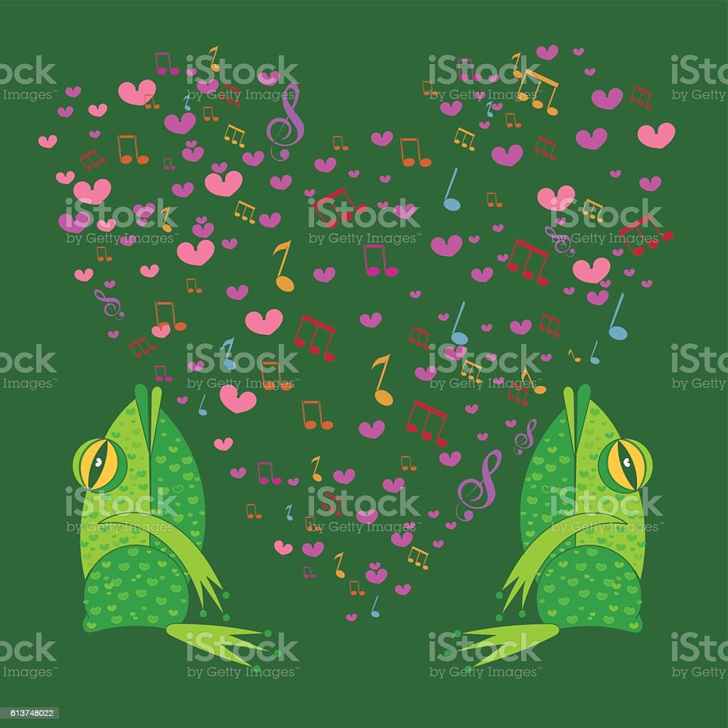two frogs singing in the background heart vector art illustration