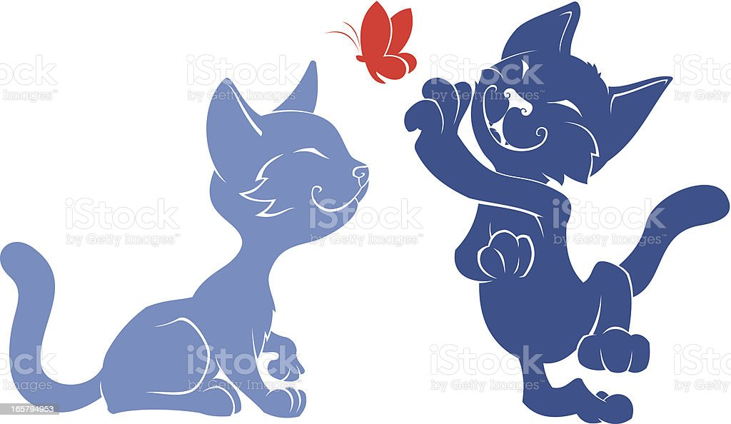 Two funny cats and butterfly royalty-free stock vector art