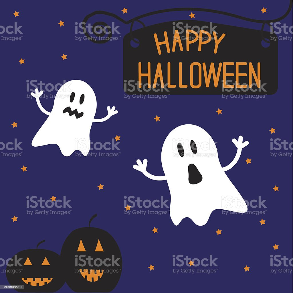Two funny Halloween ghosts and pumpkins. Starry night. Card. vector art illustration