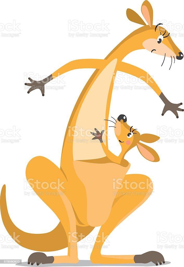 Two funny kangaroos vector art illustration