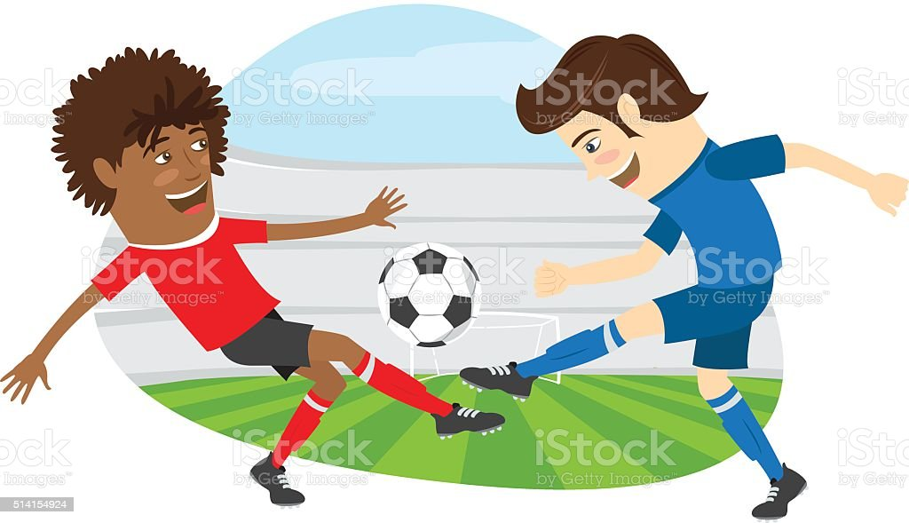 Two funny men soccer player playing football competition vector art illustration