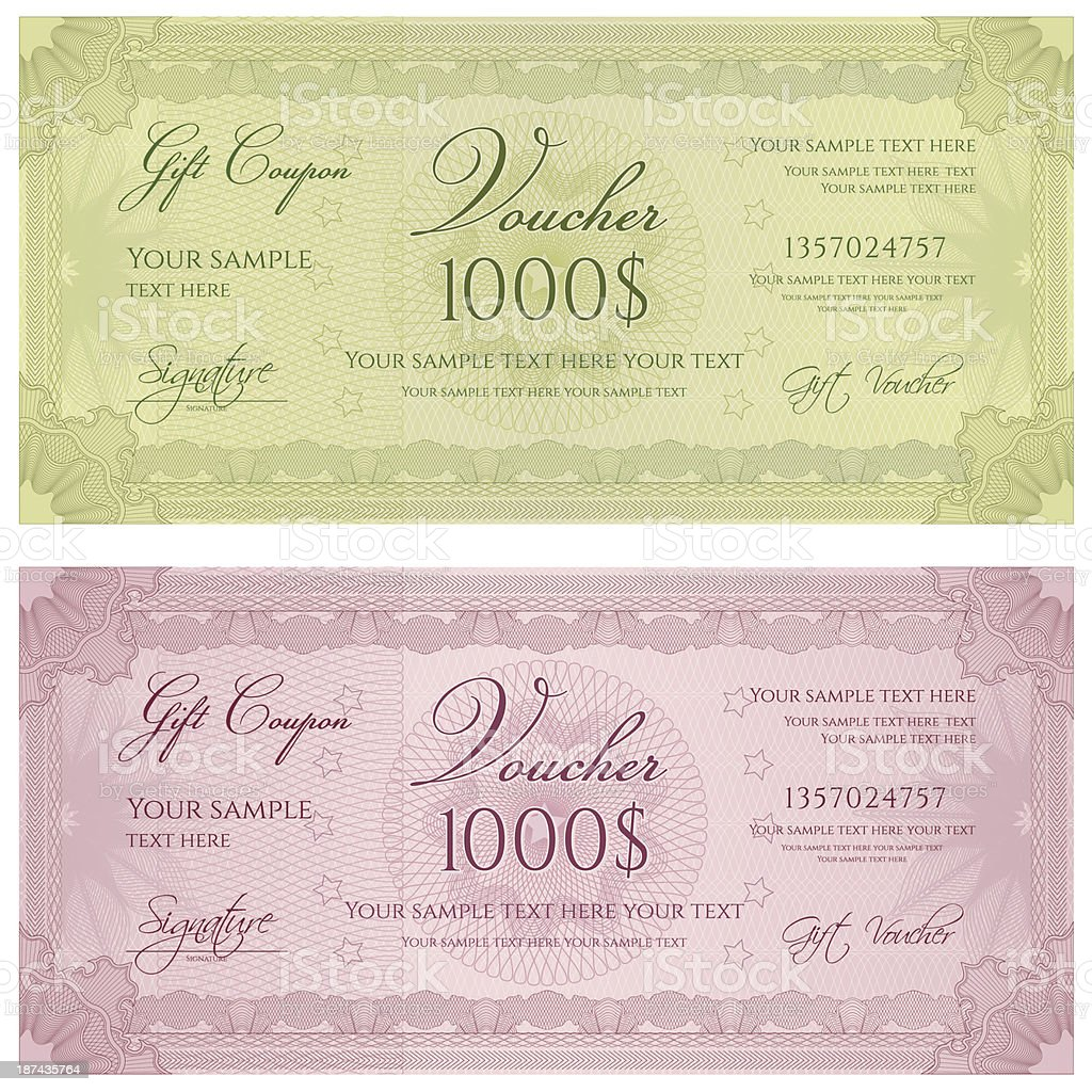 Two gift certificates or vouchers royalty-free stock vector art