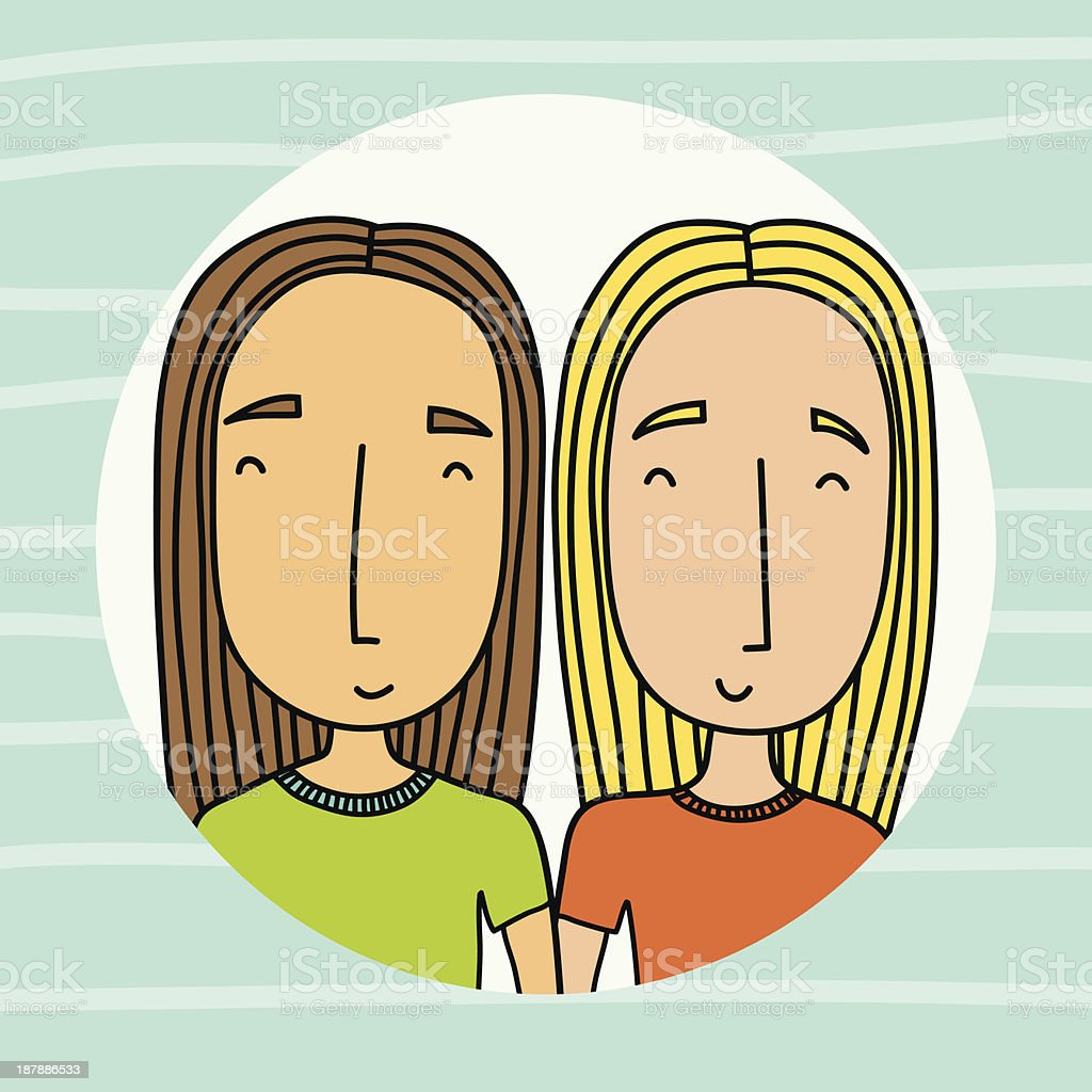 Two girlfriends royalty-free stock vector art
