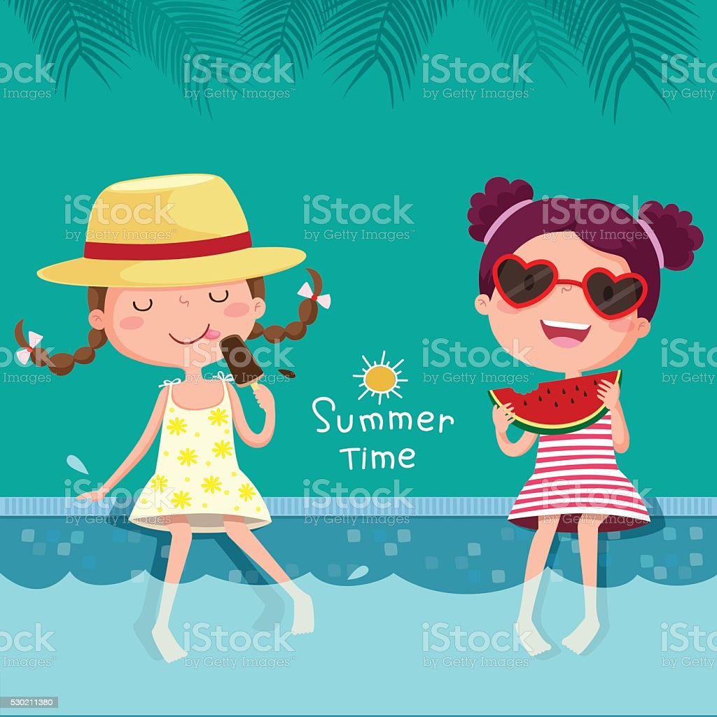Two girls eating ice cream and watermelon at the pool vector art illustration