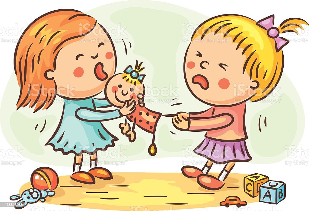 Two girls fighting vector art illustration