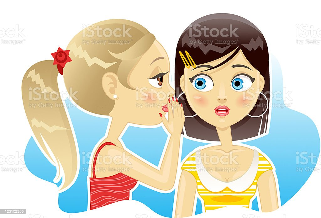 Two girls gossiping royalty-free stock vector art