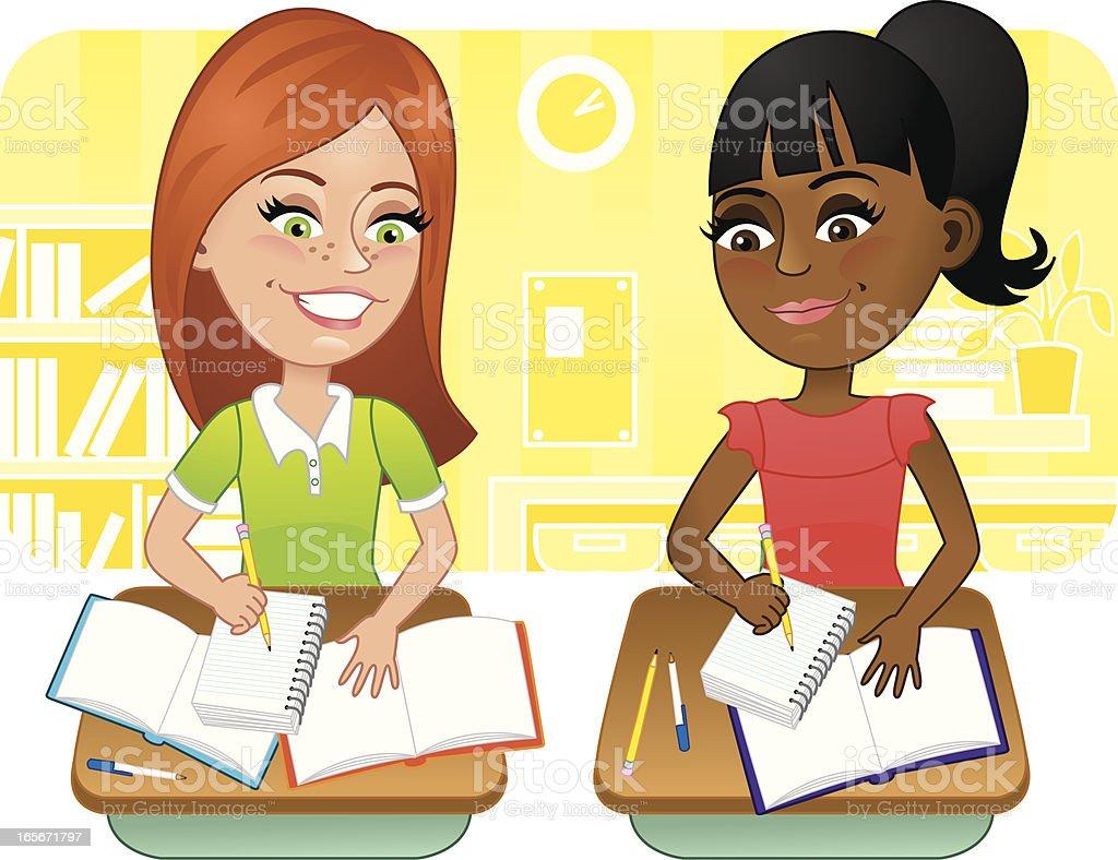 Two girls in school royalty-free stock vector art