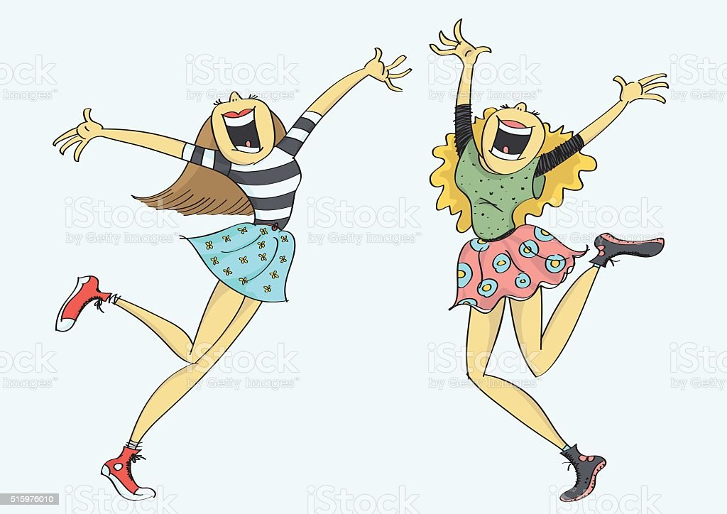 Two girls jumping and laughing with joy vector art illustration
