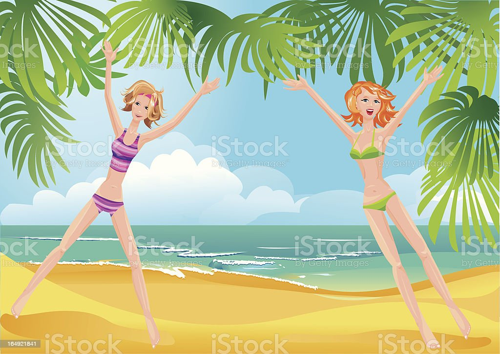 Two girls on tropical beach royalty-free stock vector art