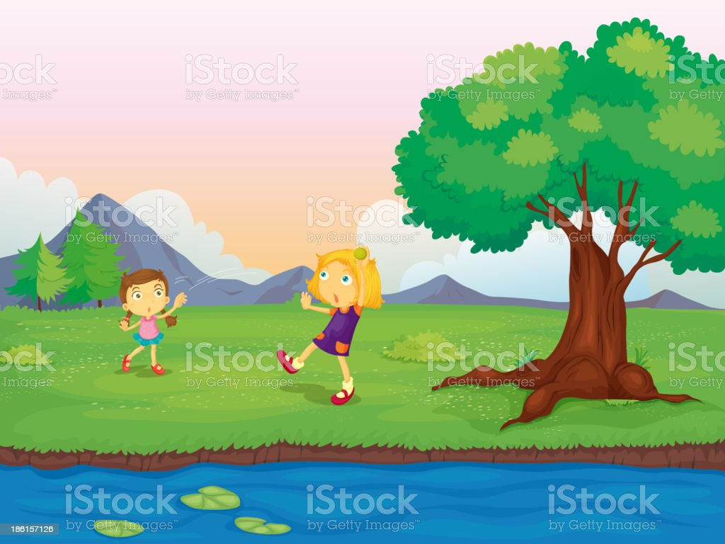Two Girls Playing royalty-free stock vector art