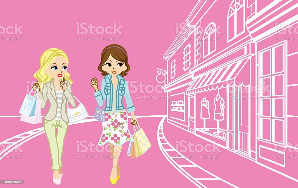 Two girls Shopping in the small town vector art illustration