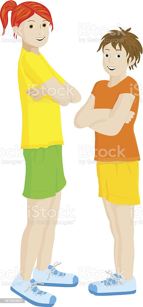 two girls royalty-free stock vector art
